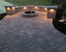 Nogas Landscaping Brick Patio with fire pit